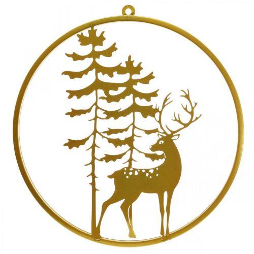 Koristeellinen kultainen roikkuva hirvi metalli joulu Ø38cm