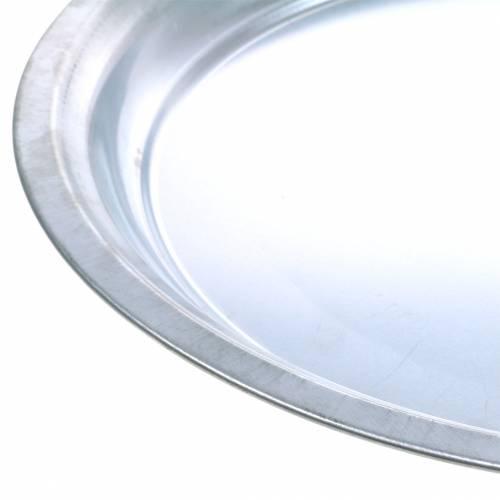 Metallilevy Basic hopea kiiltävä Ø45.5cm H4cm