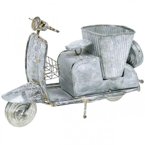 Kukkaruukku skootteri metalli vintage valkoinen pesty 35×12×23cm