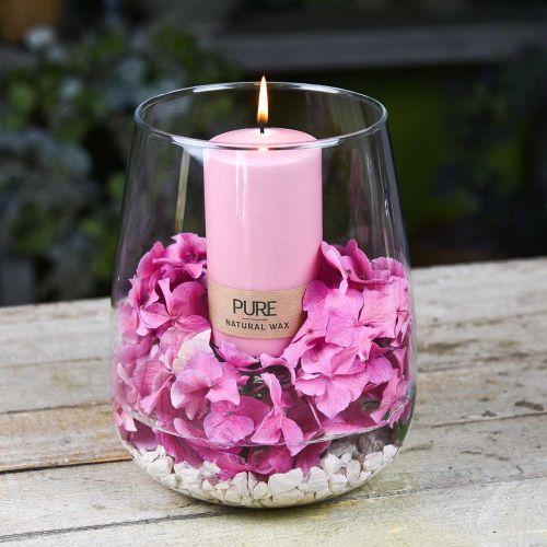 PURE Pilarikynttilä 130/70 vaaleanpunainen koristekynttilä Kestävä luonnonvaha