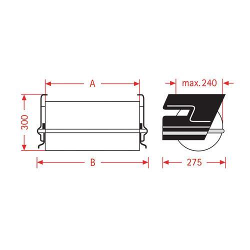 Paperifolio pöydän alle ZAC 50cm annostelija