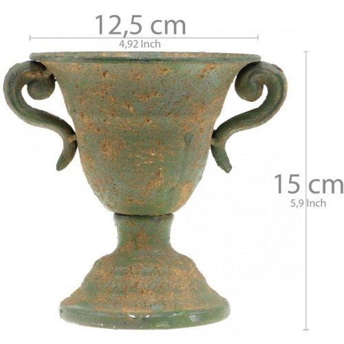 Metallinen amfora, kasvimuki, pikari kahvoilla Ø12,5cm K15cm