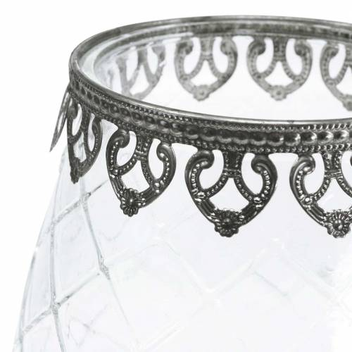 Koristeellinen lasikuppi, metallipohja Ø16cm K23,5cm