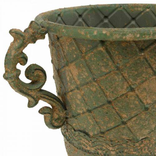 Pikari istutusta varten, pikari kahvoilla, metalliastia antiikkilook Ø15,5cm K23,5cm