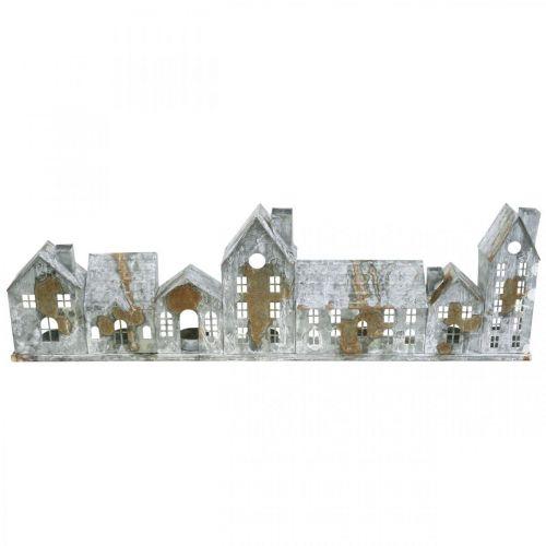 Talot syttyvät, ikkunan koristelu, valo talot hopea, metalli tuulivalo antiikki näyttää L67,5cm H20cm