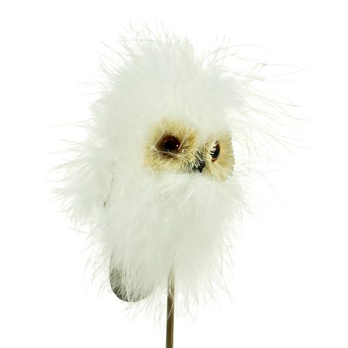 Luminen pöllö puutikulla 7cm L28cm 6kpl