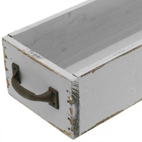 Koristelutarjotin puinen kasvilaatikko Shabby Chic harmaa 65×11×7cm