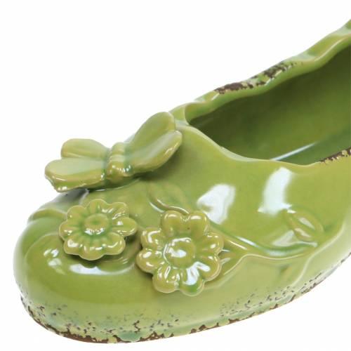 Planter naisten kenkä keraaminen vihreä 24cm