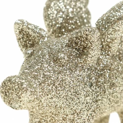 Koristeellinen sika siivillä kultainen kiille 6cm