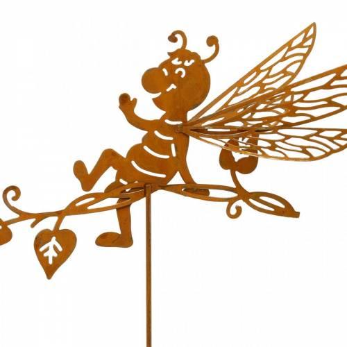 Puutarhatulppa ruosteinen mehiläinen 34,5×14cm metallinen puutarhakoriste 4kpl