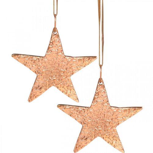 Kuparitähti ripustettavaksi, joulukuusen koriste, metalliriipus 8×9cm 2kpl.