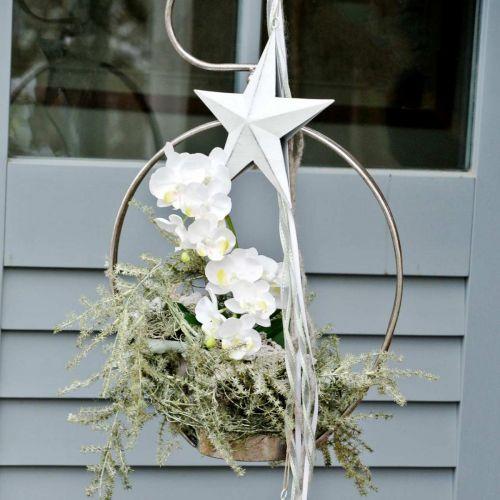Tähti ripustettavaksi, joulukuusenkoriste, metallikoriste Valkoinen 19,5×18,5cm