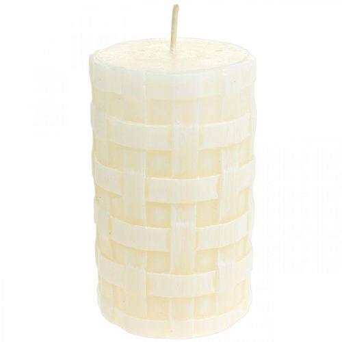 Kynttilät Rustic, vahakynttilät White, Pilarikynttilät Basket Pattern 110/65 2kpl.