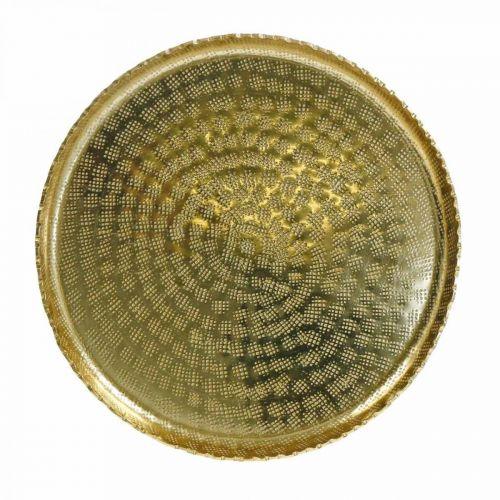Koristetarjotin, metallilevy itämainen, pöydän koriste Ø25cm