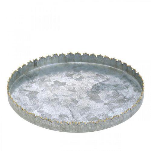 Koristelutarjotin Metalli, Pöydän koriste, koristelautanen hopea/kulta Ø18,5cm H2cm