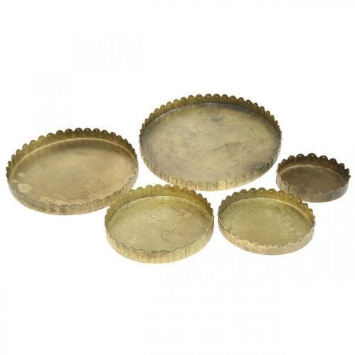 Metallilevy koristeeksi, pöydän koristeeksi, kynttilä tarjotin pyöreä Kultainen antiikkilook Ø7.5/10/12/15/18cm H2cm 5 kpl setti