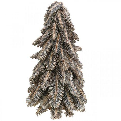 Joulukuusi kävyistä, joulukuusi lumen peitossa, talvikoriste, adventti, valkoinen pesty H33cm Ø20cm
