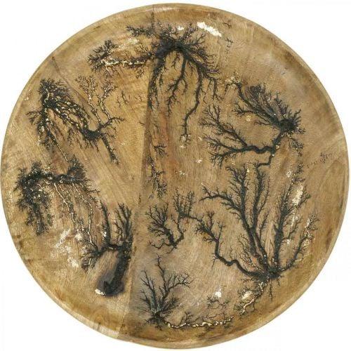 Deco Plate Wood Luonnollinen, Kultainen Crackle Effect Mangopuu Ø30