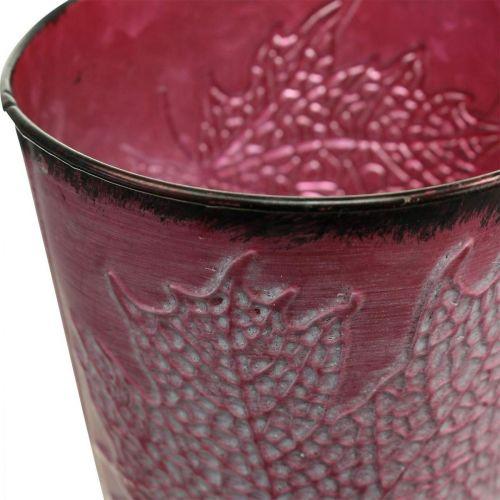 Kasviastia lehdillä koristeltu, metalliastia, syksy, kasvi ruukku viininpunainen Ø10cm K10cm