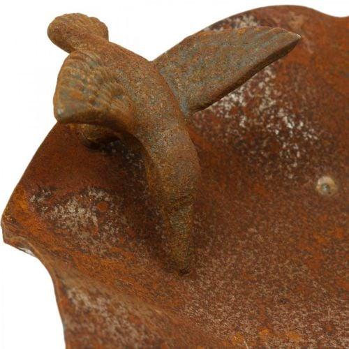 Koristeellinen lintukylpy, ruokinta-asema ruostumatonta terästä, lintukylpy antiikkilook Ø28cm K74cm