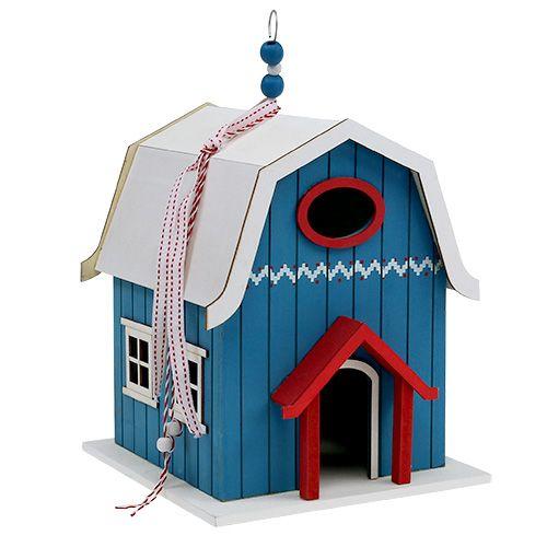 Lintutalo, sisustus talo sininen 21cm x 30cm