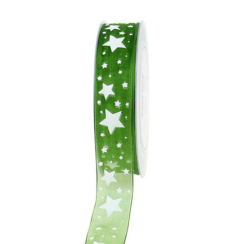 Joulunauha vihreä tähtikuvioilla 25mm 20m