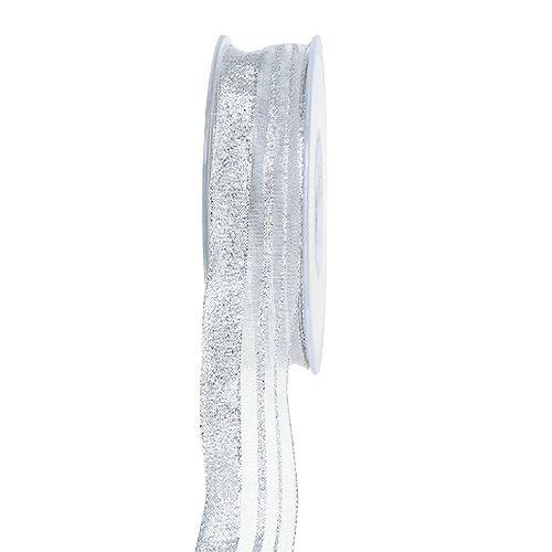 Raidallinen joulunauha hopea 25mm 20m