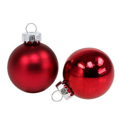 Joulupallo Ø4cm Punainen kiilto/Matti 24kpl