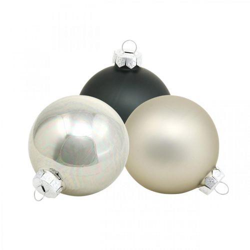 Joulupallo, joulukuusen riipus, puukoriste musta/hopea/helmi H6,5cm Ø6cm aitoa lasia 24kpl.