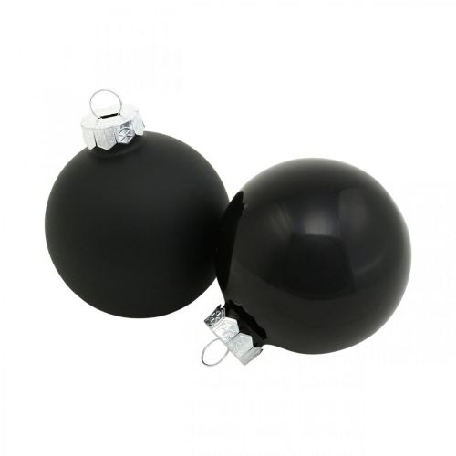 Joulukuusipallot, kuusen riipukset, lasipallot musta H6,5cm Ø6cm aitoa lasia 24kpl.