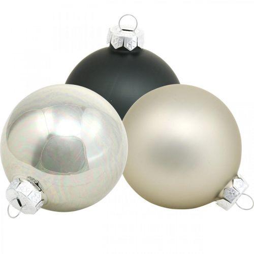 Joulupallo, joulukuusen koriste, joulupallo musta/hopea/helmi H8,5cm Ø7,5cm aitoa lasia 12kpl.