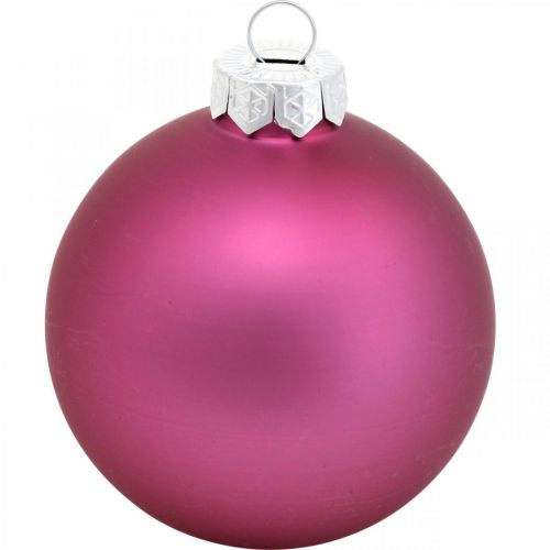 Joulupallo, Joulukuusenkoriste, Joulupallot Violetti H6,5cm Ø6cm Aitoa lasia 24kpl.