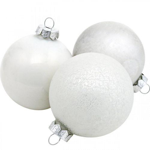 Joulupallo, Lumipallo, Joulukuusenkoriste, Lasipallo Valkoinen H8,5cm Ø7,5cm Aitoa lasia 14kpl.