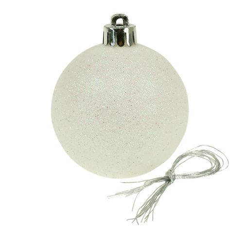 Joulupallot muovia valkoista helmiäistä Ø6cm 10kpl