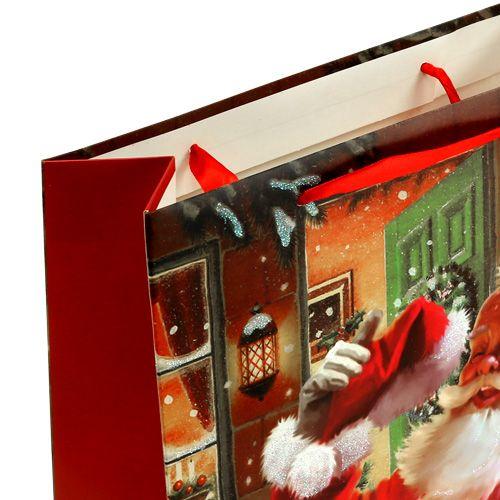 Lahjapussi joulupukilla 24cm x 18cm x 8cm