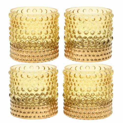 Lyhty lasikeltaista, kultaa Ø8.5cm H8cm 4kpl