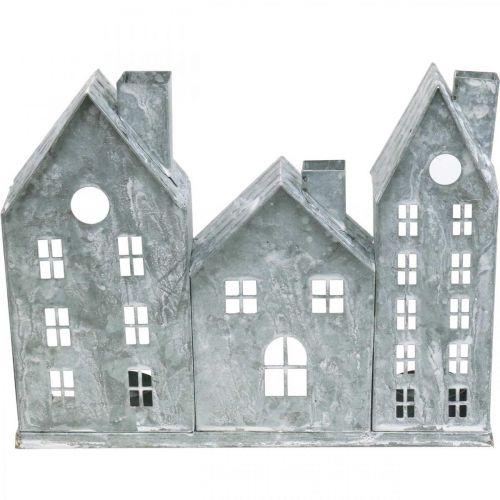 Ikkunakoriste Joulu, Tuulivalo, Dioraama House Row, Metalli Koriste Hopea Shabby Chic L37,5cm H20cm