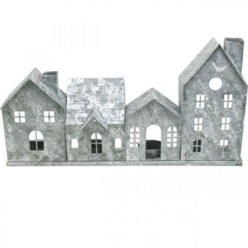 Valotalot, metallinen lyhty, ikkunakoriste, adventti, hopea Shabby Chic L37,5cm K20cm