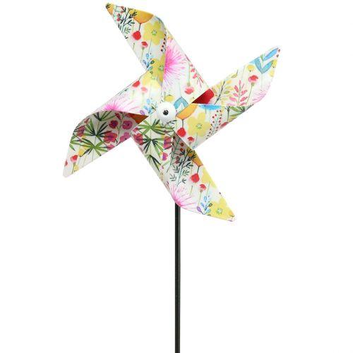 Kesän koriste tuulimylly Ø14cm värikäs tikulla 3kpl