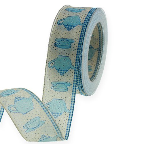 Koristeellinen nauha, jossa lanka sininen 40mm 20m
