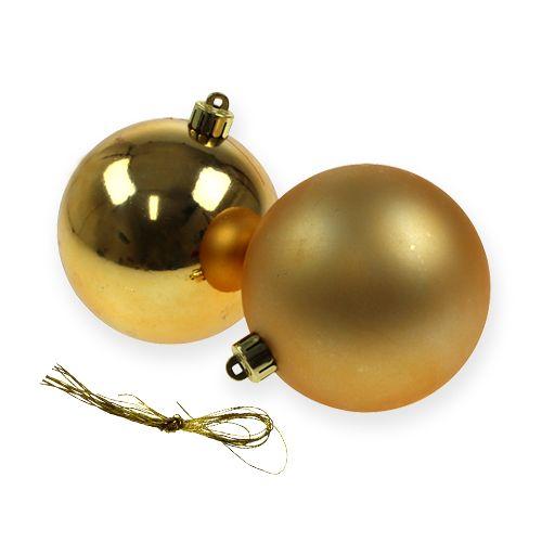 Muoviset joulupallot Kulta 8cm 6kpl