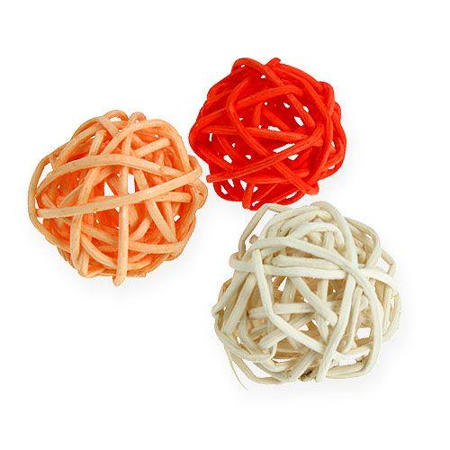 Rottinki pallo oranssi, aprikoosi, valkaistu 72kpl
